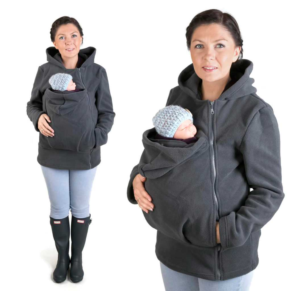 Fun2bemum babywearing fleece jacket graphite