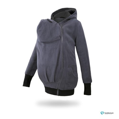 Fun2bemum babywearing fleece jacket polar front-2 graphite black