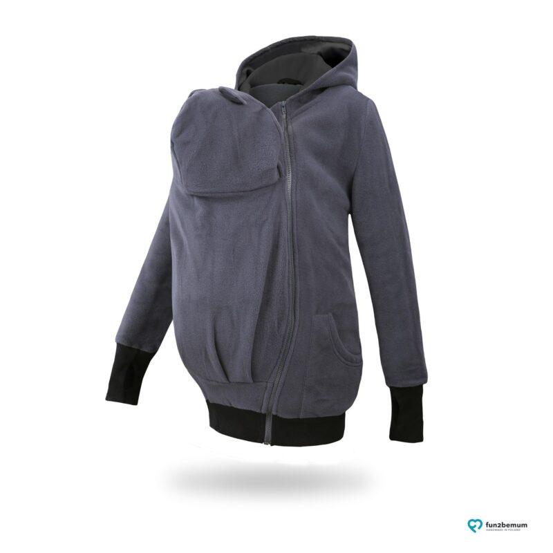 Fun2bemum babywearing fleece jacket polar front-2 graphite black