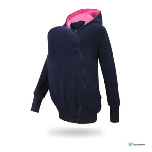 Fun2bemum babywearing fleece jacket polar front-2 navy pink