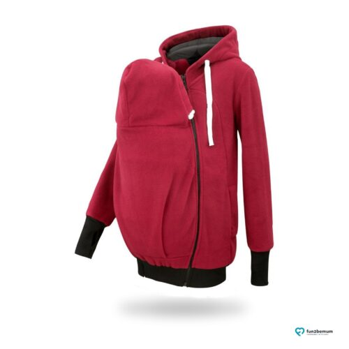 Fun2bemum babywearing fleece jacket polar front-4 burgundy