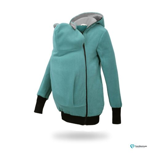Fun2bemum babywearing fleece jacket polar front-5 turquoise grey