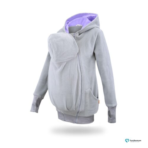 Fun2bemum babywearing fleece jacket polar front-6 grey lilac