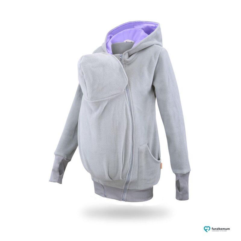 Fun2bemum babywearing fleece jacket polar front-6 grey lilac