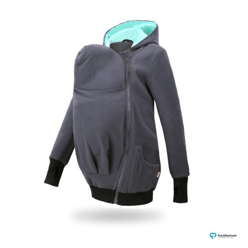 Fun2bemum babywearing fleece jacket polar front-7 graphite mint