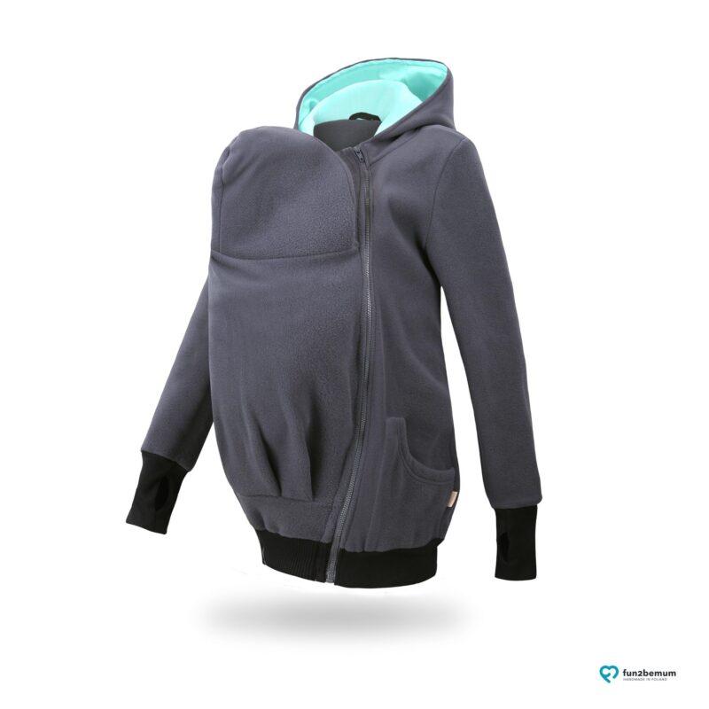 Fun2bemum babywearing fleece jacket polar front-7 graphite mint