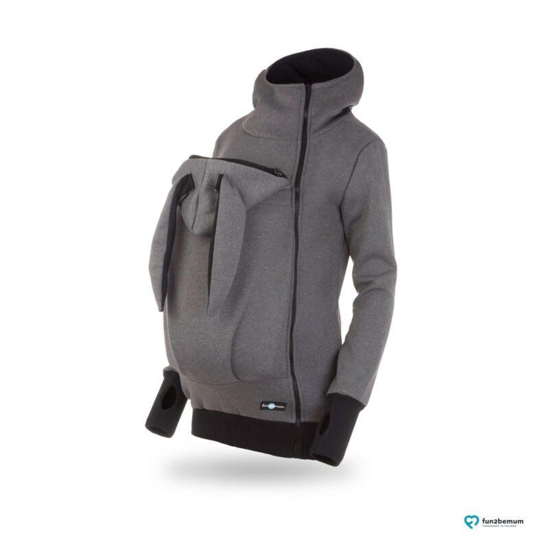 Fun2bemum babywearing sweatshirt jacket Maya bluza do noszenia-2 bunny ears graphite