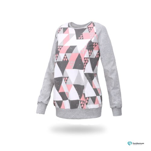 Fun2bemum maternity nursing sweatshirt Charlie ciazowa bluza do karmienia-2 trójkąty koral