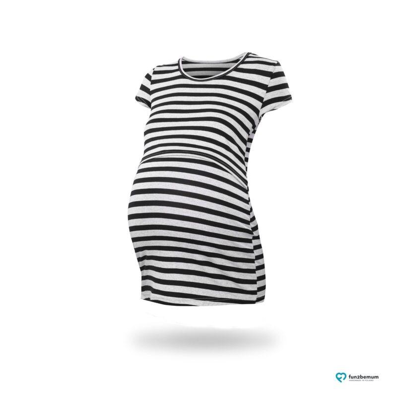 Fun2bemum maternity nursing top Chloe ciazowa bluzka do karmienia (2) - czarny szare paski