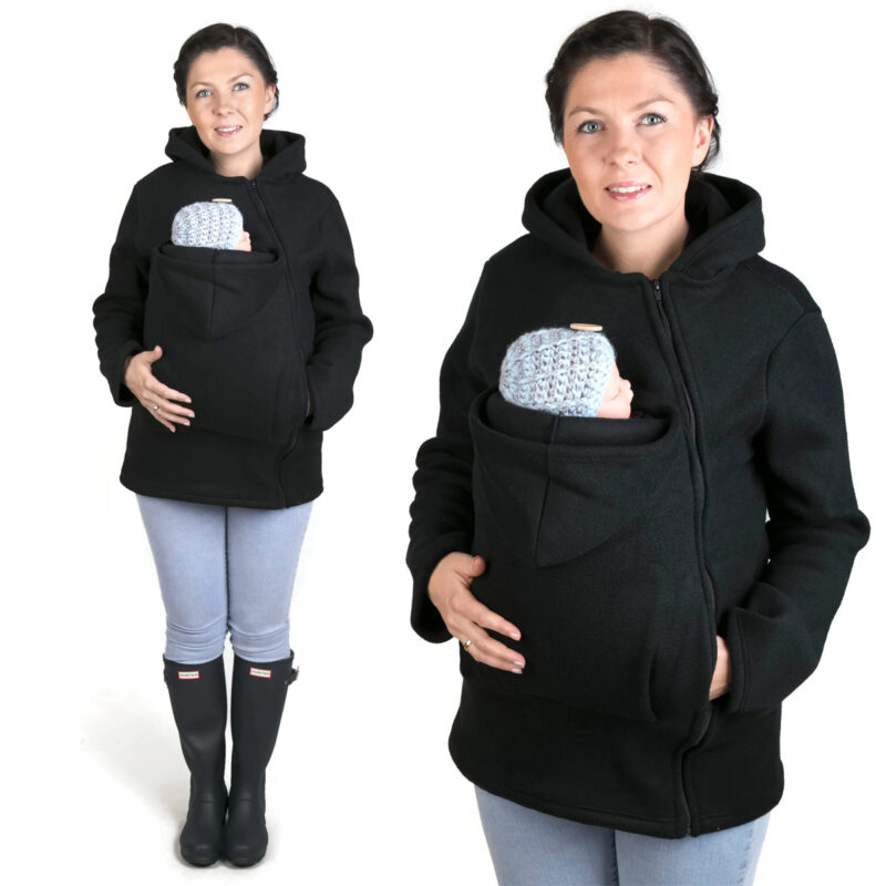 Fun2bemum babywearing fleece jacket black