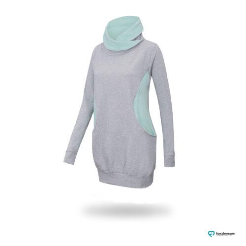 Fun2bemum maternity nursing sweatshirt Lily ciazowa bluza do karmienia 1 szary mięta