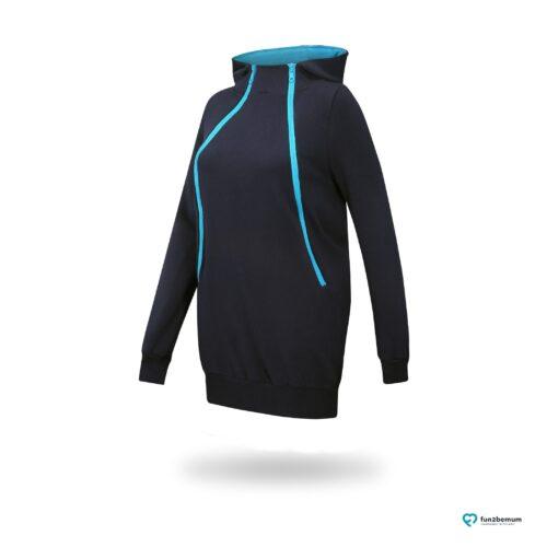 Fun2bemum maternity nursing sweatshirt Roxi ciazowa bluza do karmienia-5 navy turquoise