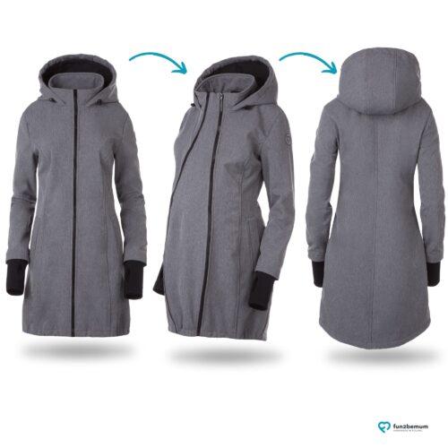 Fun2bemum babywearing softshell coat grey melange ciazowy plaszcz do noszenia dzieci szary