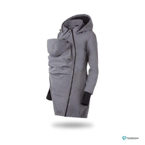 Fun2bemum babywearing softshell coat maternity grey melange płaszcz