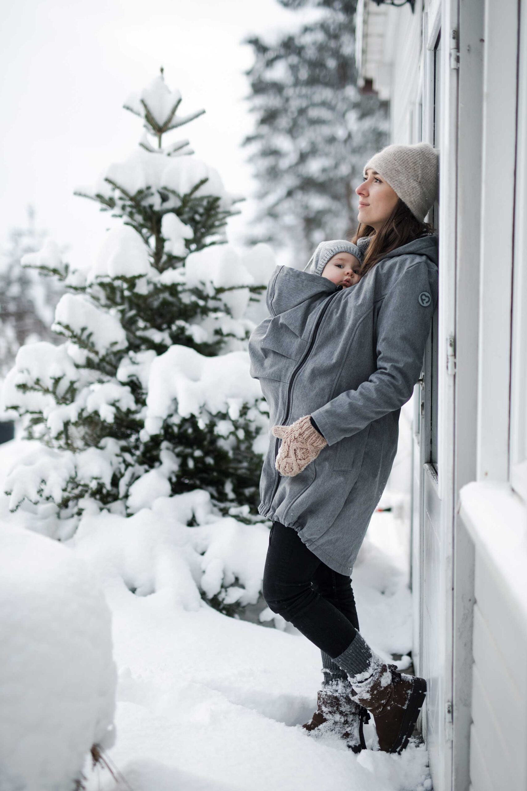 Fun2bemum babywearing softshell coat maternity grey melange plaszcz-4