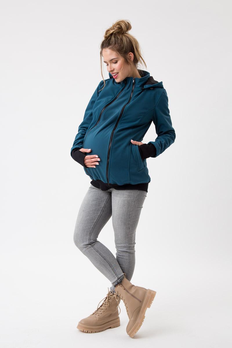 Fun2bemum babywearing softshell jacket maternity petrol green ciazowa kurtka do noszenia butelkowa zielen