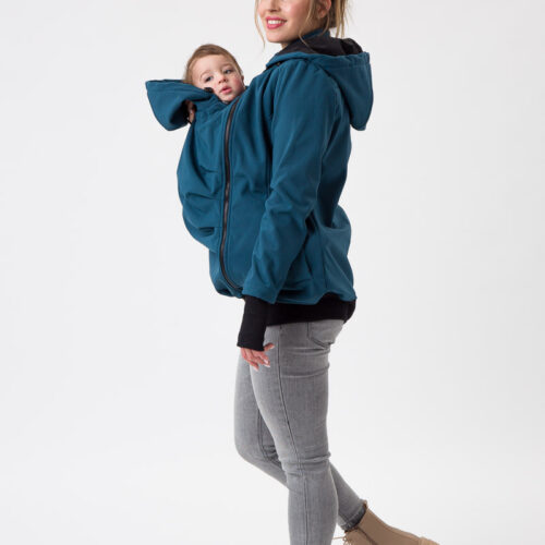 Fun2bemum babywearing softshell jacket maternity petrol green ciazowa kurtka do noszenia butelkowa zielen 2 studio