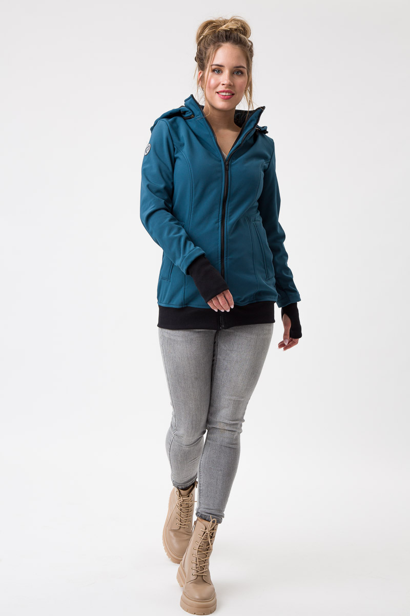 Fun2bemum babywearing softshell jacket maternity petrol green ciazowa kurtka do noszenia butelkowa zielen 3 studio