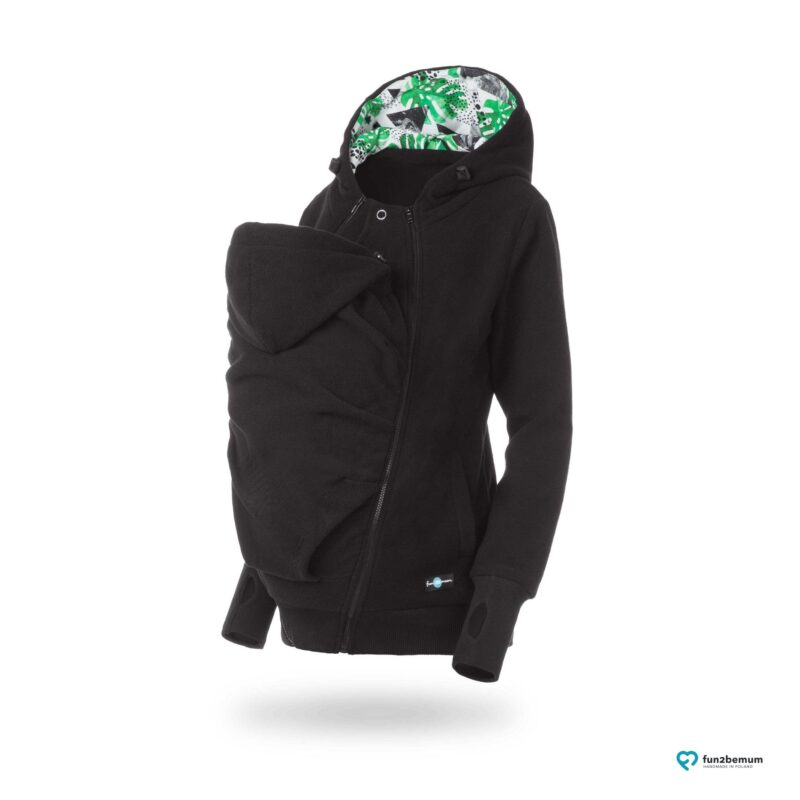Fun2bemum polar dla dwojga babywearing jacket polar fleece Luna petrol czarny monstera black