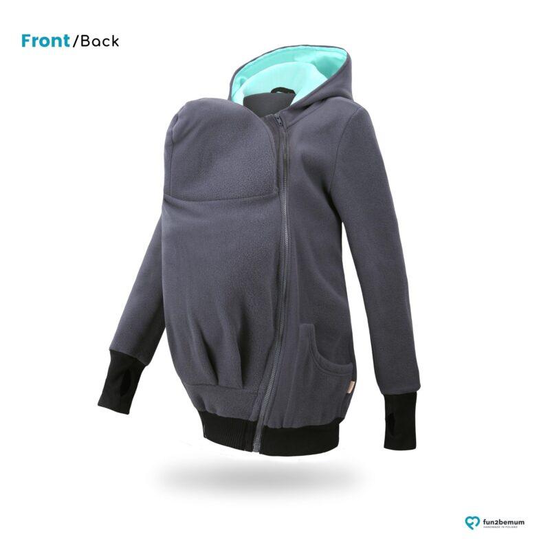 Fun2bemum babywearing fleece jacket polar front-back (1) - grafit mięta