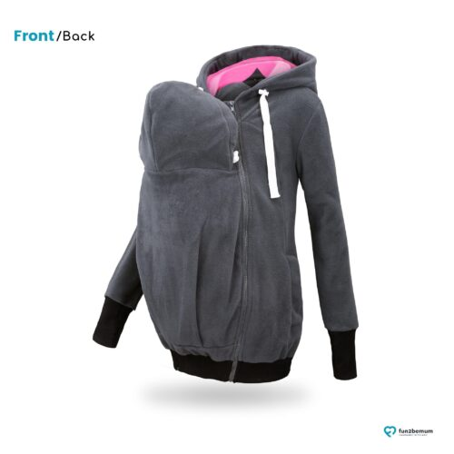 Fun2bemum babywearing fleece jacket polar front-back (3)- grafit róż