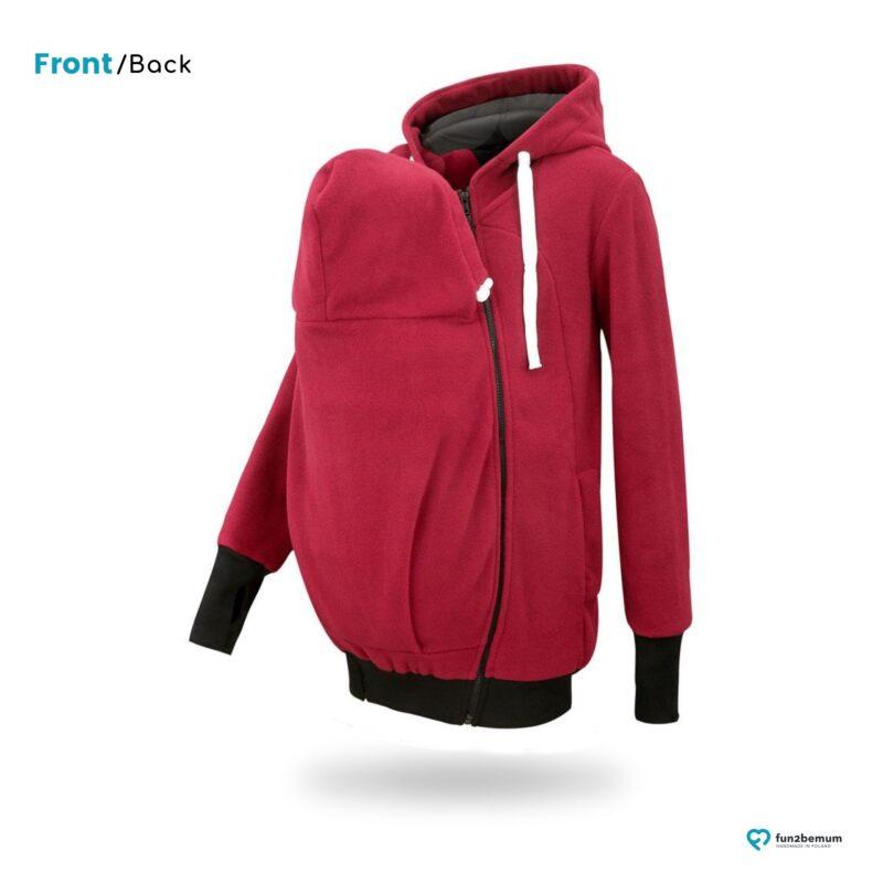 Fun2bemum babywearing fleece jacket polar front-back (4) - burgund- czarny