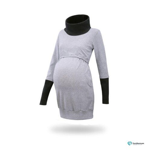 Fun2bemum maternity nursing tunic sweatshirt Olivia tunika ciazowa do karmienia-3 szary