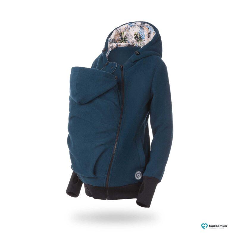 Fun2bemum polar dla dwojga babywearing jacket polar fleece Luna petrol green zielen butelkowa