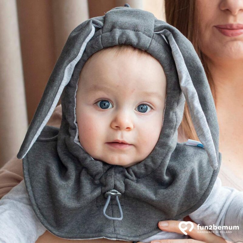 Fun2bemum kominiarka dla dzieci balaclava hat for kids bunny ears graphite main