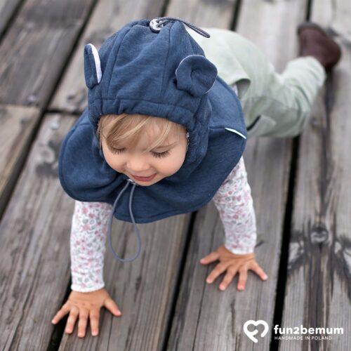 Fun2bemum baby hat balaclava czapeczka zimowa dla dzieci bawełniana jeans