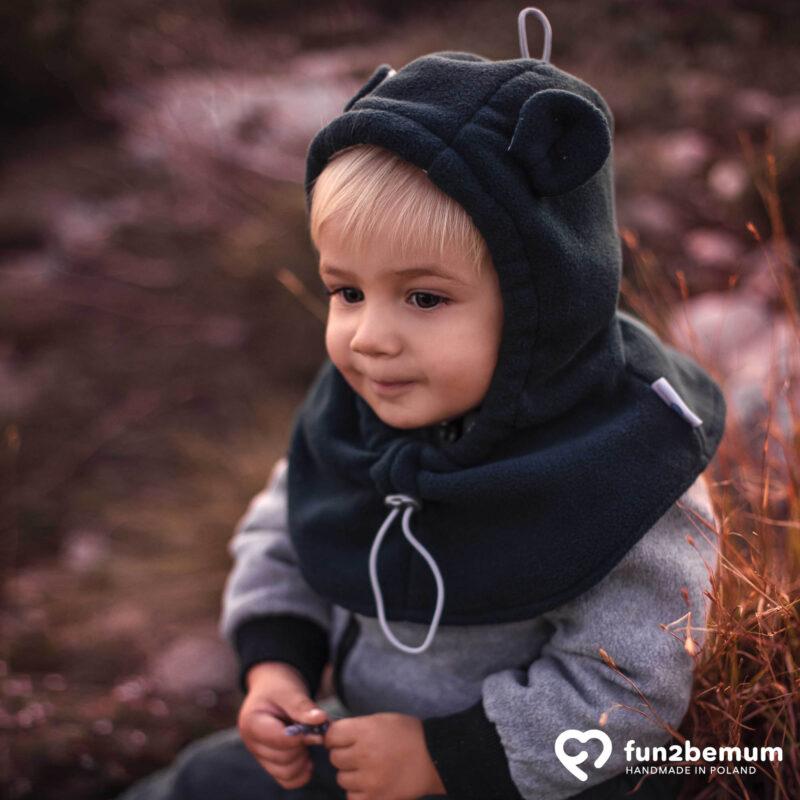 Fun2bemum baby hat balaclava czapeczka zimowa dla dzieci petrol butelkowa zieleń