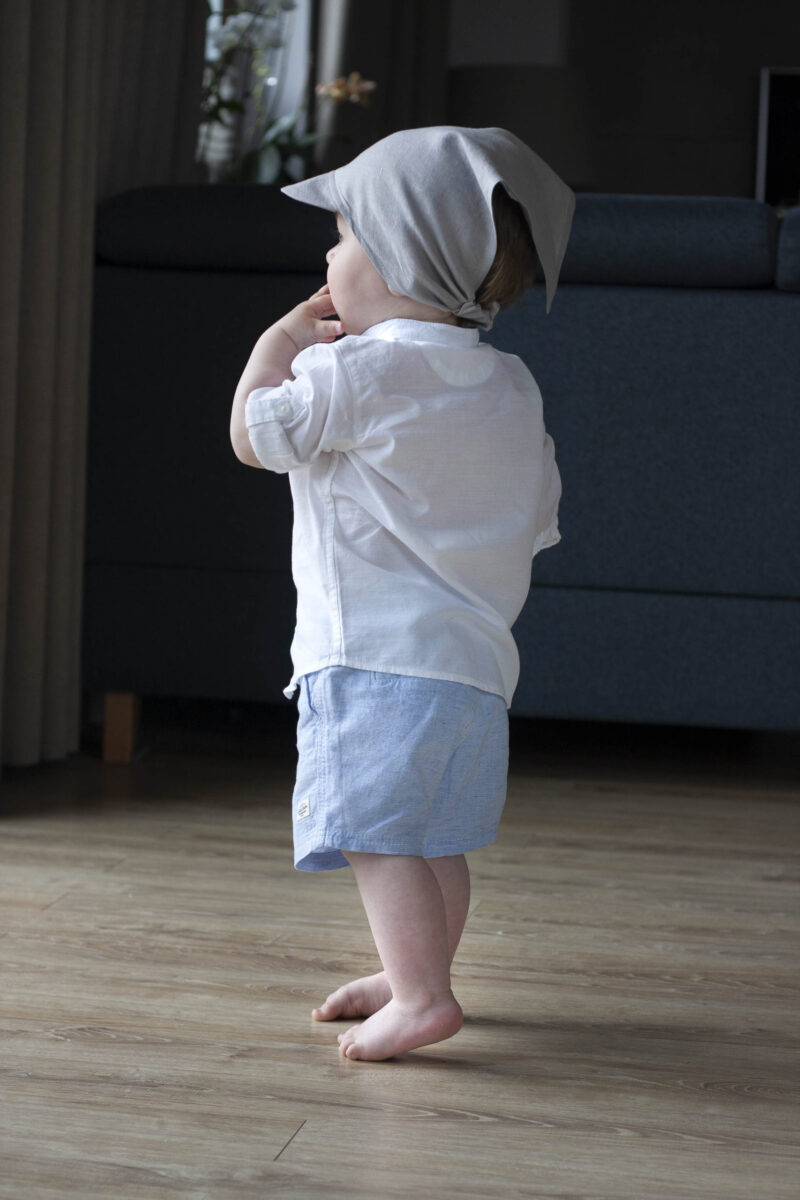 chusteczka czapeczka lniana z daszkiem szary popiel 8