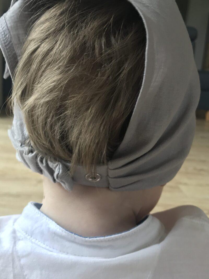 chusteczka czapeczka lniana z daszkiem szary popiel