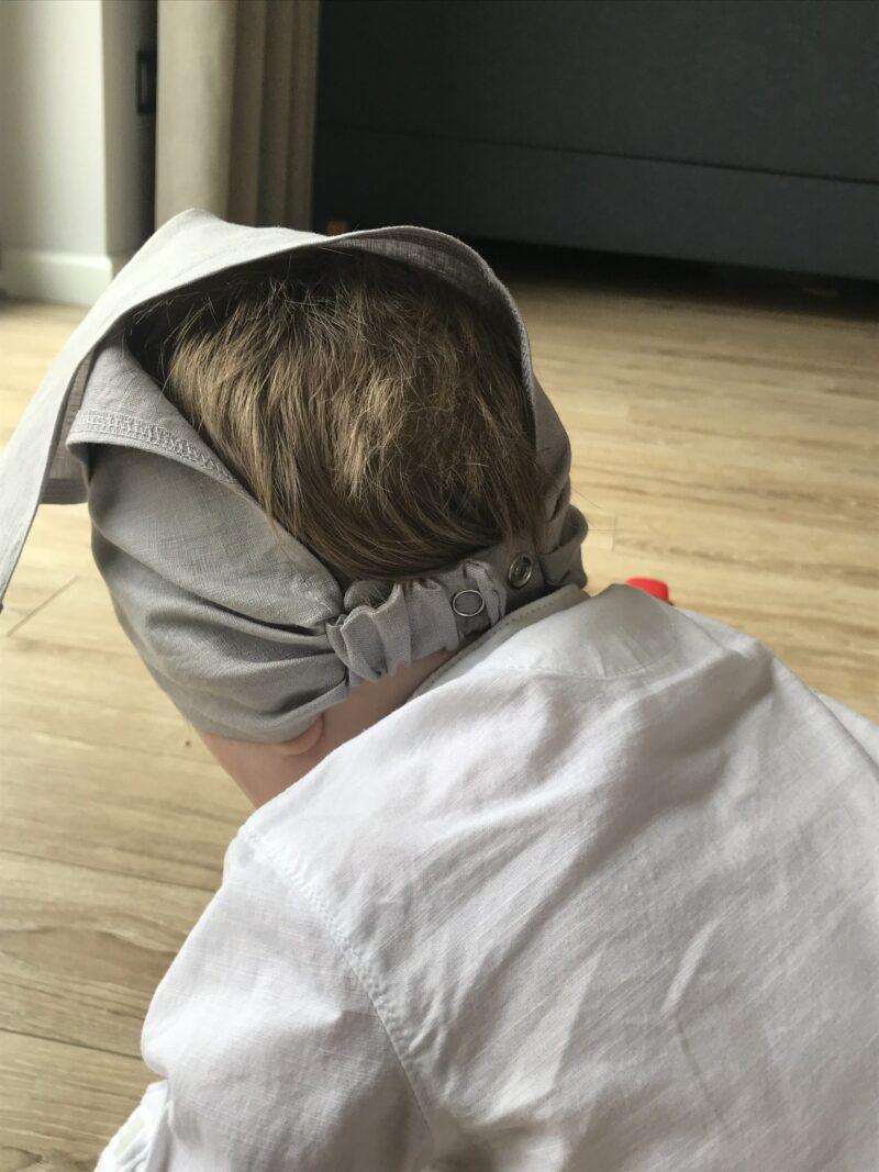 chusteczka czapeczka lniana z daszkiem szary popiel 3