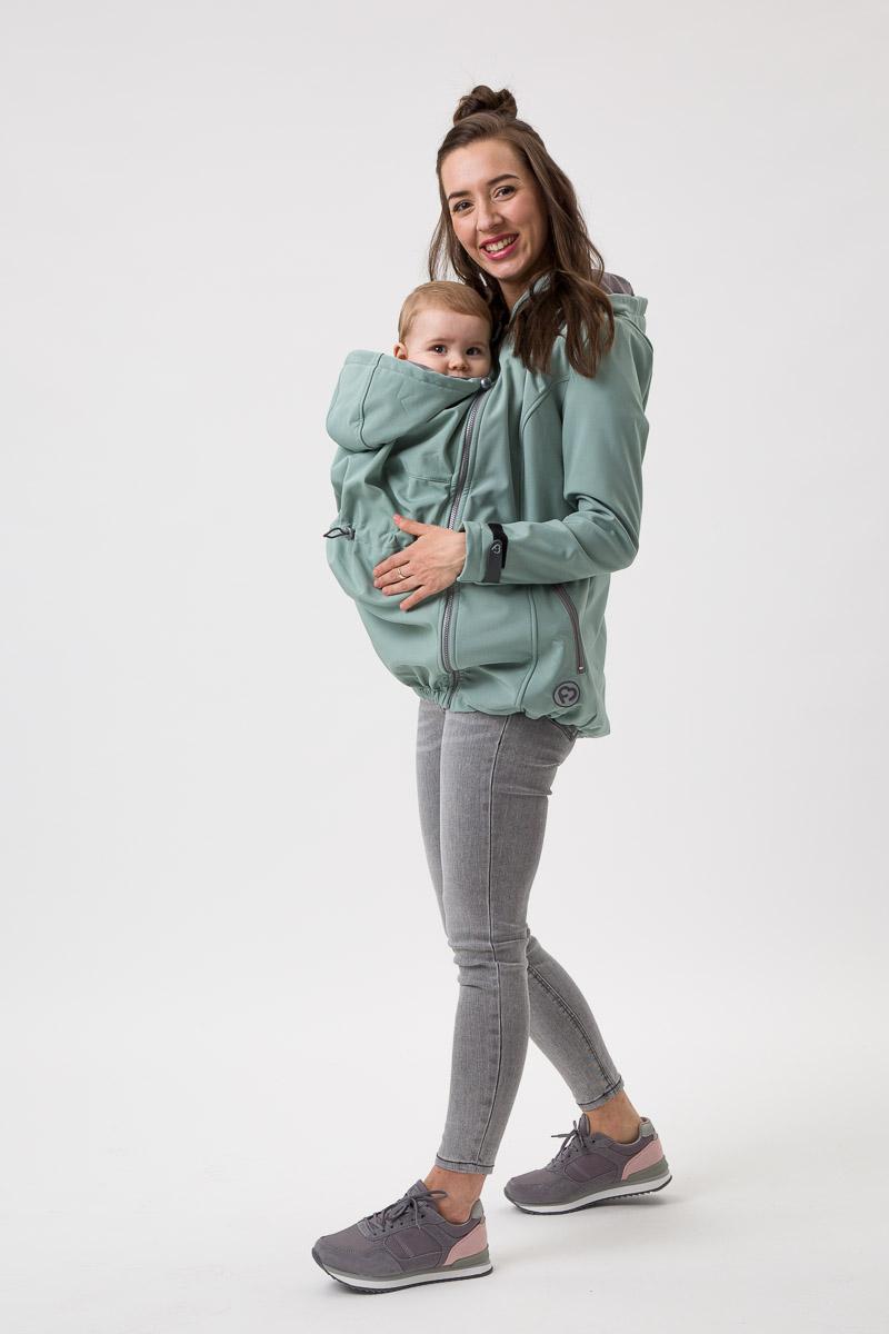 Fun2bemum_babywearing_softshell_jacket_Enigma_mint maternity kurtka ciazowa do noszenia dzieci mieta
