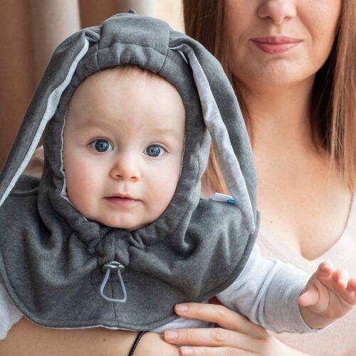 Fun2bemum kominiarka dla dzieci balaclava hat for kids bunny ears graphite IV
