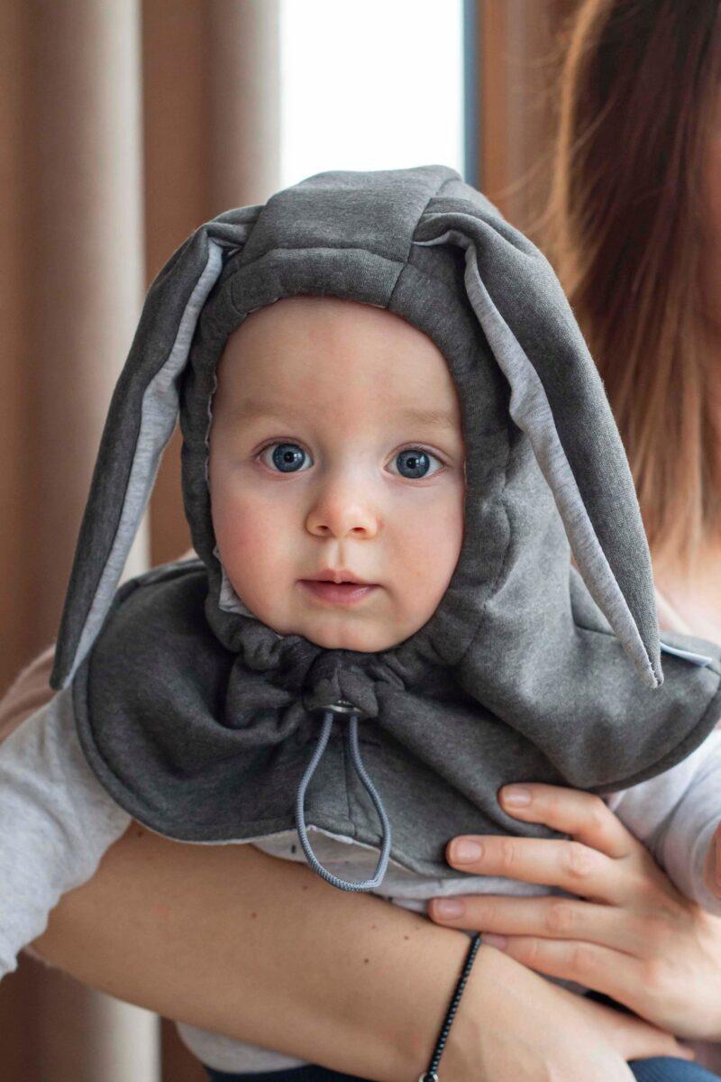 Fun2bemum kominiarka dla dzieci balaclava hat for kids bunny ears graphite II
