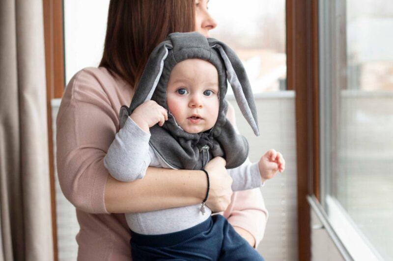 Fun2bemum kominiarka dla dzieci balaclava hat for kids bunny ears graphite III