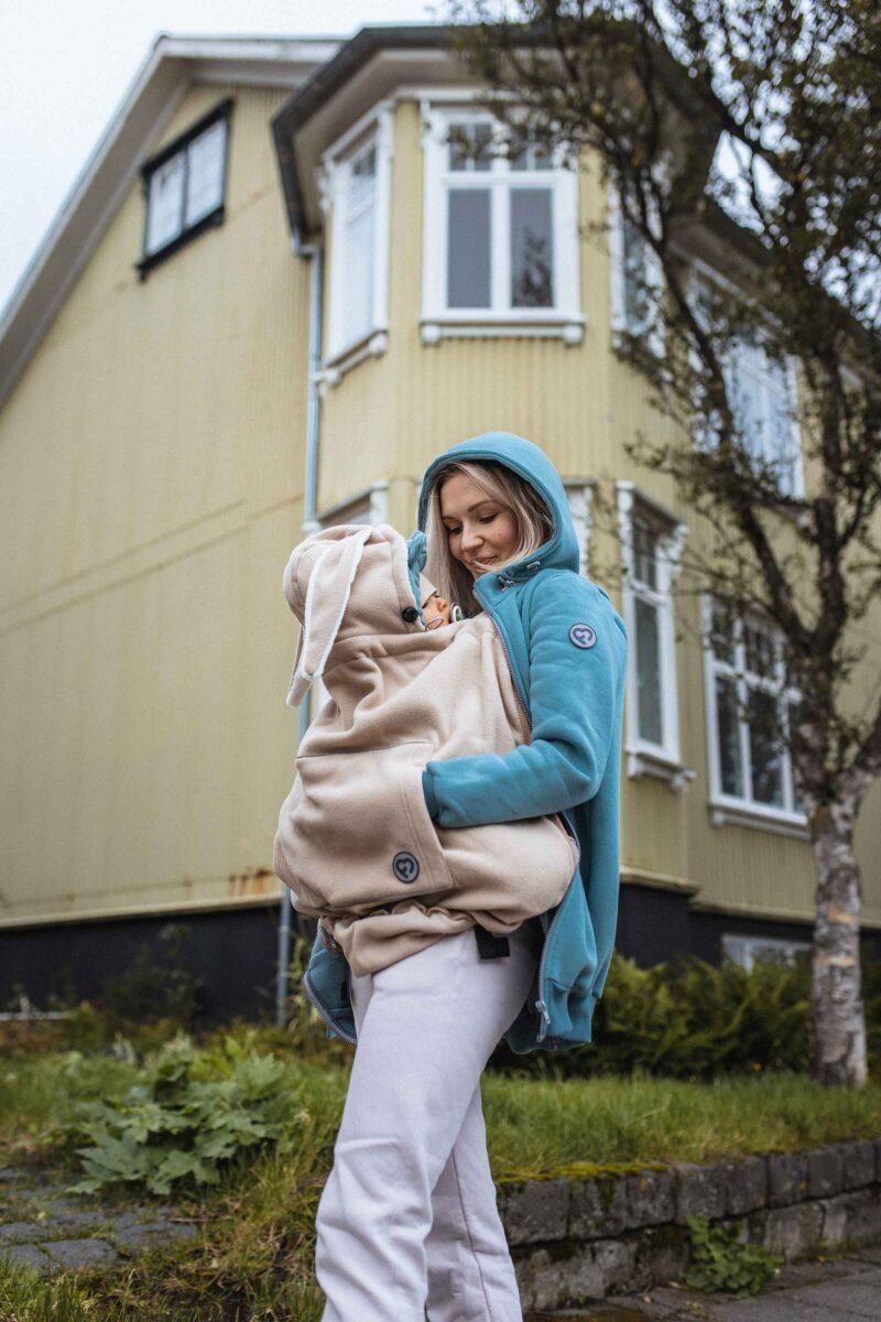 Fun2bemum babywearing sweatshirt maternity Pola bluza ciazowa do noszenia dzieci brudna mieta dust mint 1