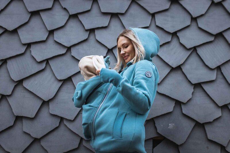 Fun2bemum babywearing sweatshirt maternity Pola bluza ciazowa do noszenia dzieci brudna mieta dust mint 4