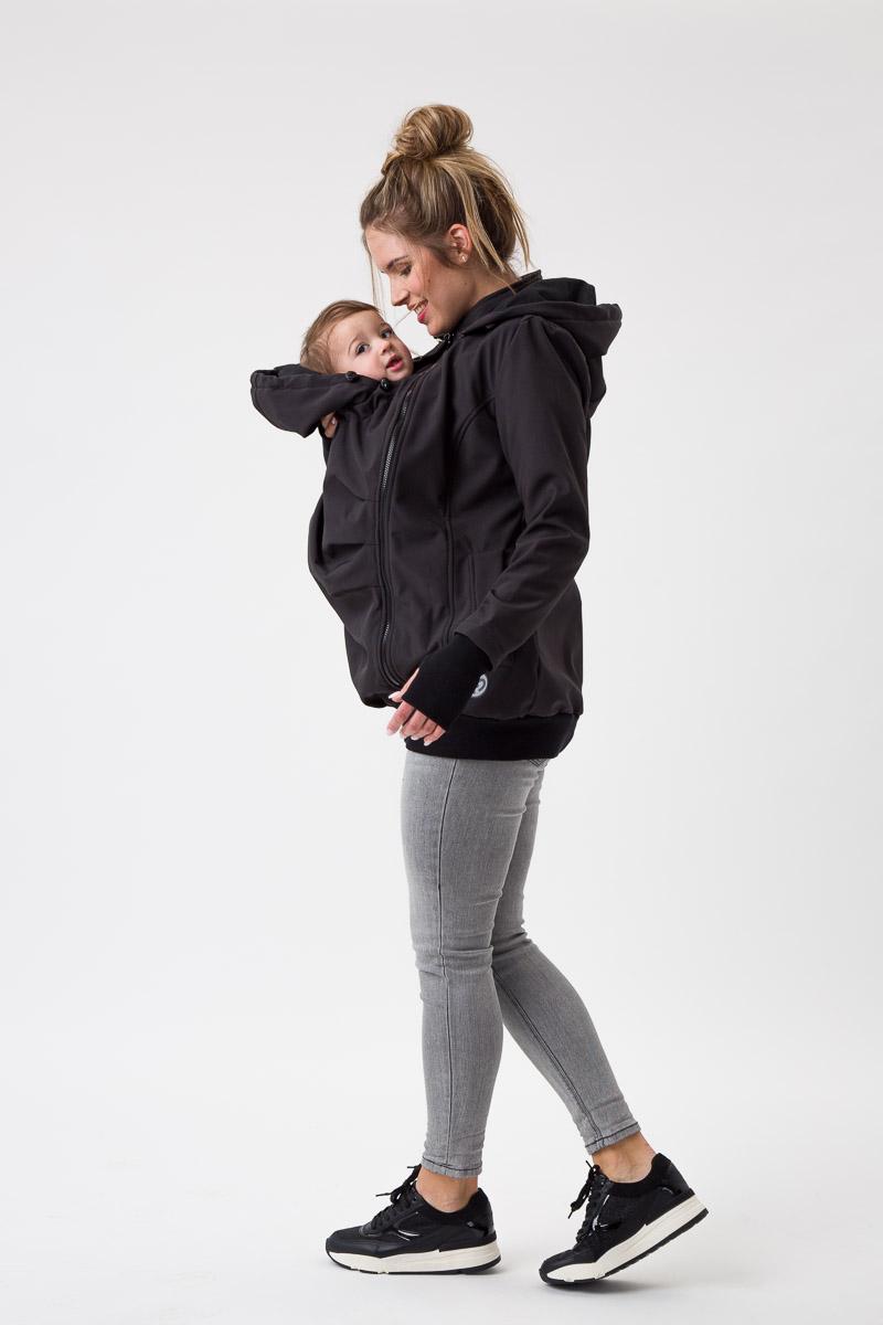 Fun2bemum babywearing softshell jacket everest maternity black kurtka ciazowa do noszenia dzieci czarna 2