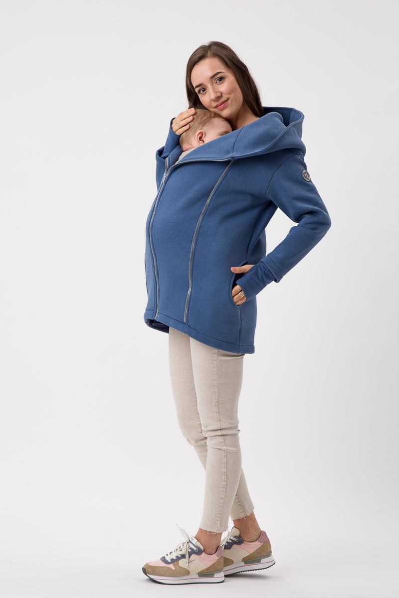 Fun2bemum babywearing coat Kaya maternity plaszcz ciazowy do noszenia dzieci jeans niebieski blue 2