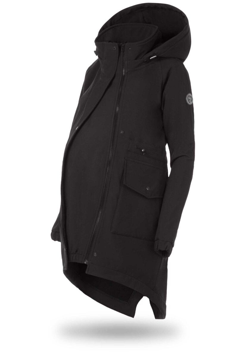 Fun2bemum kurtka parka softshell do noszenia dzieci babywearing maternity jacket black czarny 4
