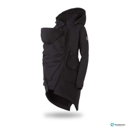 Fun2bemum kurtka parka softshell do noszenia dzieci babywearing maternity jacket black czarny duch