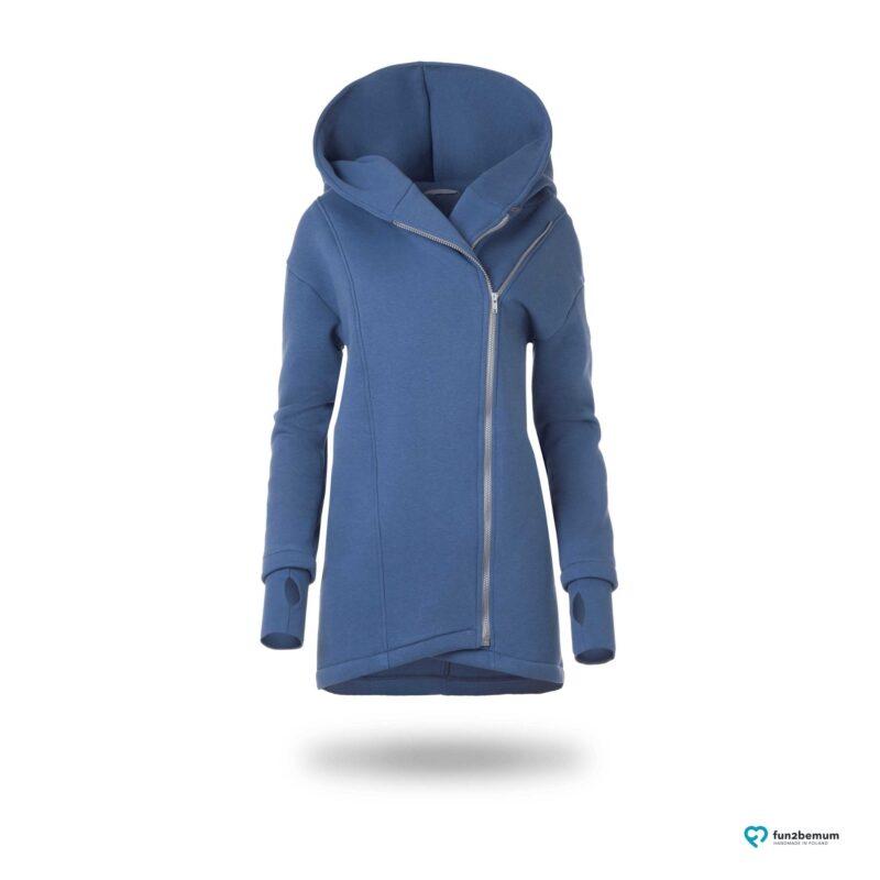 Fun2bemum babywearing coat Kaya dirty pink plaszcz do noszenia jeans niebieski blue