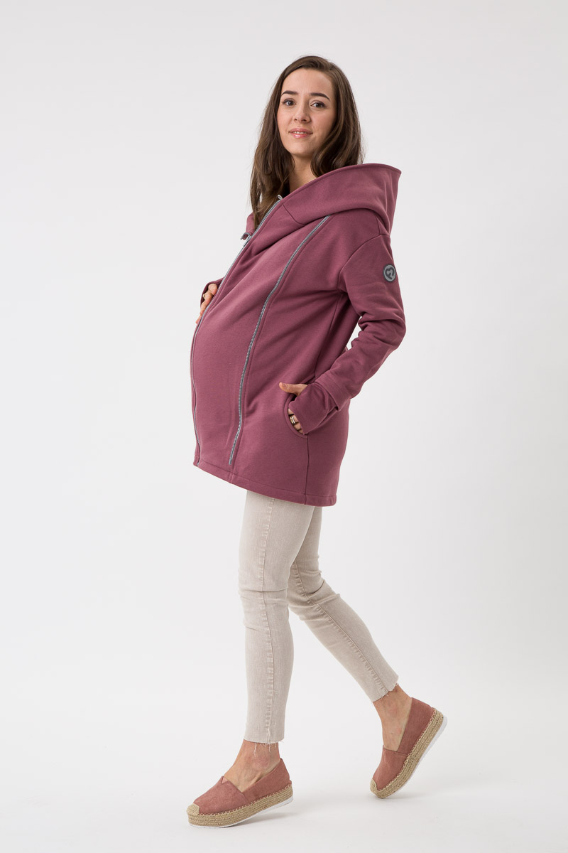 Fun2bemum babywearing coat Kaya maternity plaszcz rozowy brąz rose brown 5