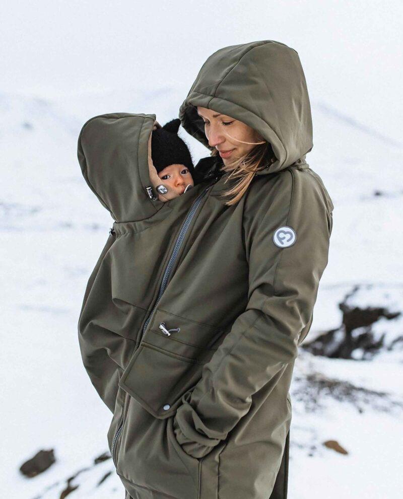 Fun2bemum babywearing maternity parka softshell khaki-1