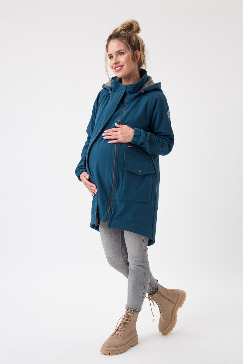 Fun2bemum babywearing softshell parka coat maternity parka do noszenia ciazowa petrol green butelkowa zielen 3
