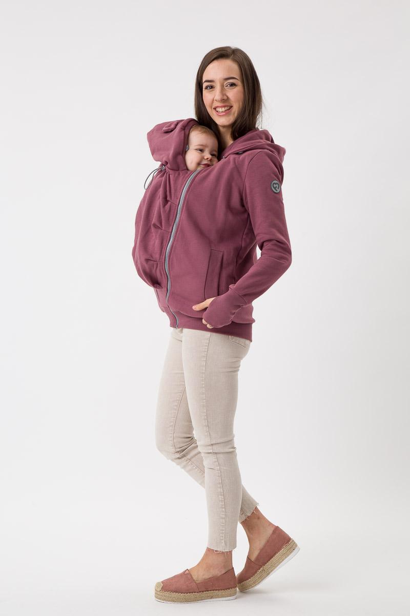 Fun2bemum babywearing sweatshirt Pola maternity bluza do noszenia ciazowa brazowy roz rose brown 4