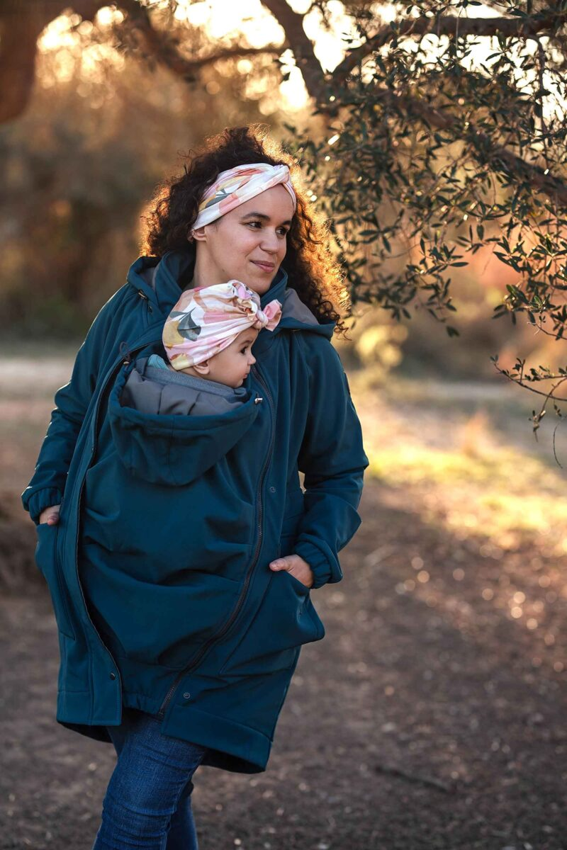 Fun2bemum parka coat petrol maternity softshell kurtka do noszenia dzieci2